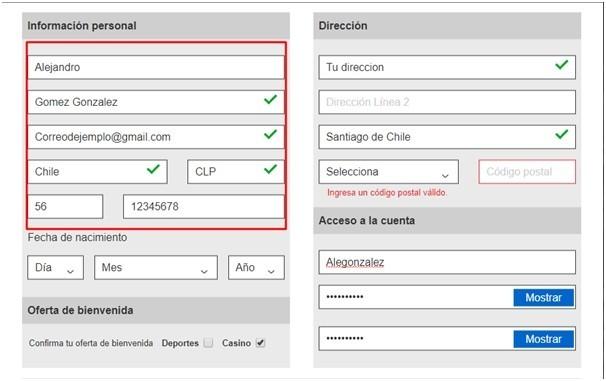 Plantilla de registro en Betway Chile