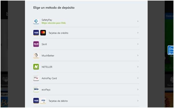 métodos de pago en BetWay Chile