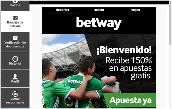 Bono de bienvenida en BetWay Chile