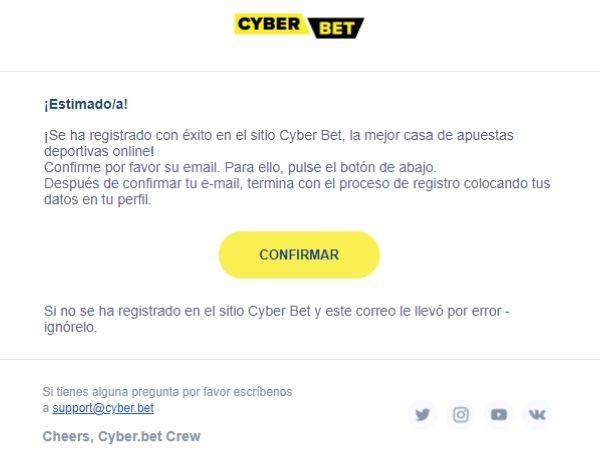cómo registrarse en Cyber.bet